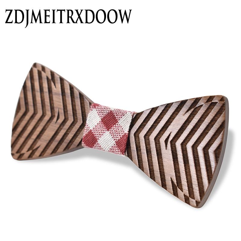 ZDJMEITDOOW  Vision Wood Bow Ties For Mens Wedding Suits Wooden Bow Tie Butterfly Shape Bowknots Gravatas Slim Cravat