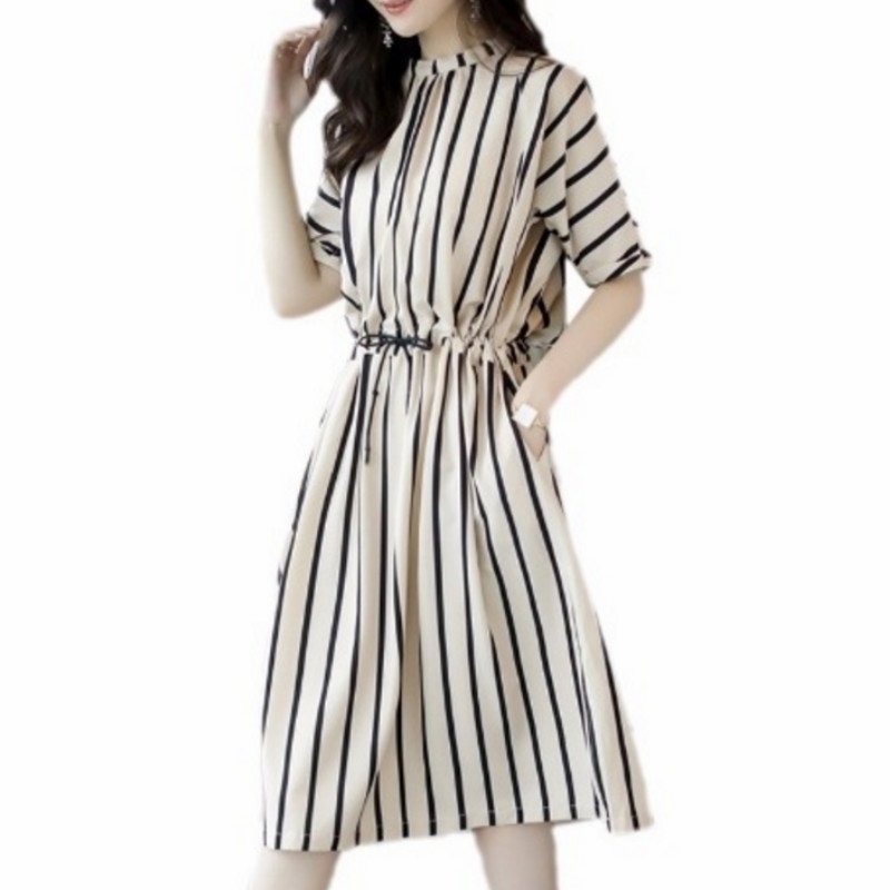 2018 Summer Female Casual Striped Loose Shirt Dress Elegant Half Sleeve O-Neck Work Office Midi Dress For Women Vestidos