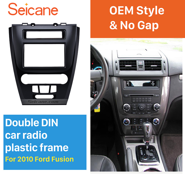 Seicane Black 2din Car Radio Fascia For 2010 Ford Fusion Auto Stereo Adaptor Panel Plate Frame Dash Mount Oem Style No Gap
