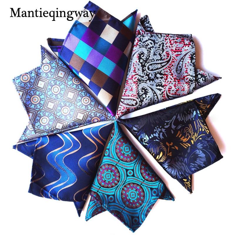 39b7bf7fc823 Mantieqingway 25*25cm Polyester Handkerchief Men's Business Suit Floral Pocket  Square Hankies Classic Design Plaid