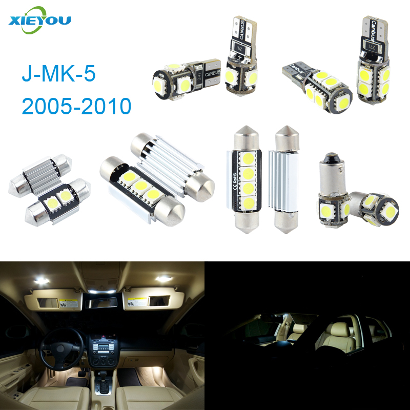 XIEYOU 10pcs LED Canbus Interior Lights Kit Package For J MK 5 (2005-2010)
