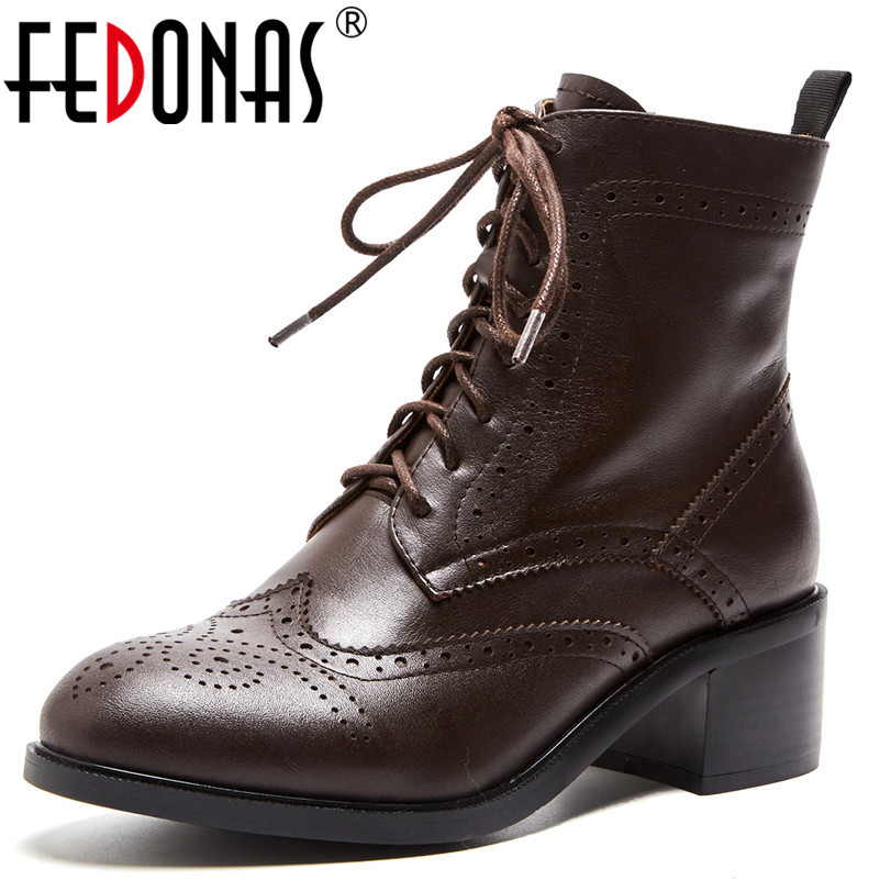 FEDONAS Fashion Brand Women Ankle Boots Lace Up Genuien Leather Thick High Heels Ladies Shoes Woman