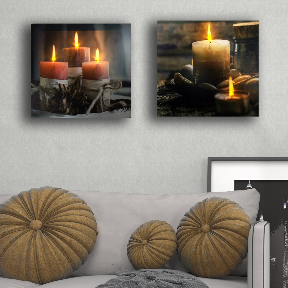 Open Window At Dusk: Lighted Canvas Painting Window Candles Lowes Best Electric