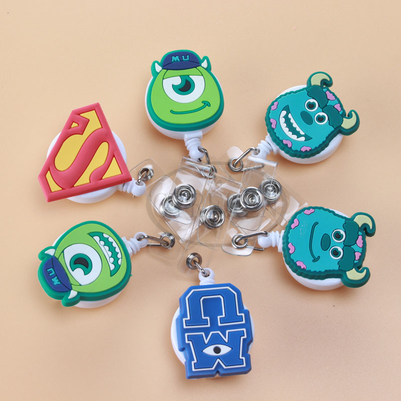1psc Monster University High Quality Retractable Pull Badge Reel ID Card Clip ID Badge Lanyard Name Tag Card For School Office