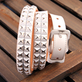 Genuine Leather Punk Men White Jeans Belt Unisex Hip Hop Stud Rivet Metal Belt For Couples Cowgirl Strap Ceinture Femme MBT0282