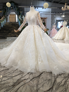 Image 3 - LSS156 לראות דרך חתונה שמלת אשליה o צוואר ארוך שרוולי תחרה עד בחזרה יופי vestidos דה novia baratos קון envio חנם