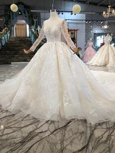 Image 3 - LSS156 przezroczysta suknia ślubna illusion o neck długie rękawy zasznurować powrót uroda vestidos de novia baratos con envio gratis
