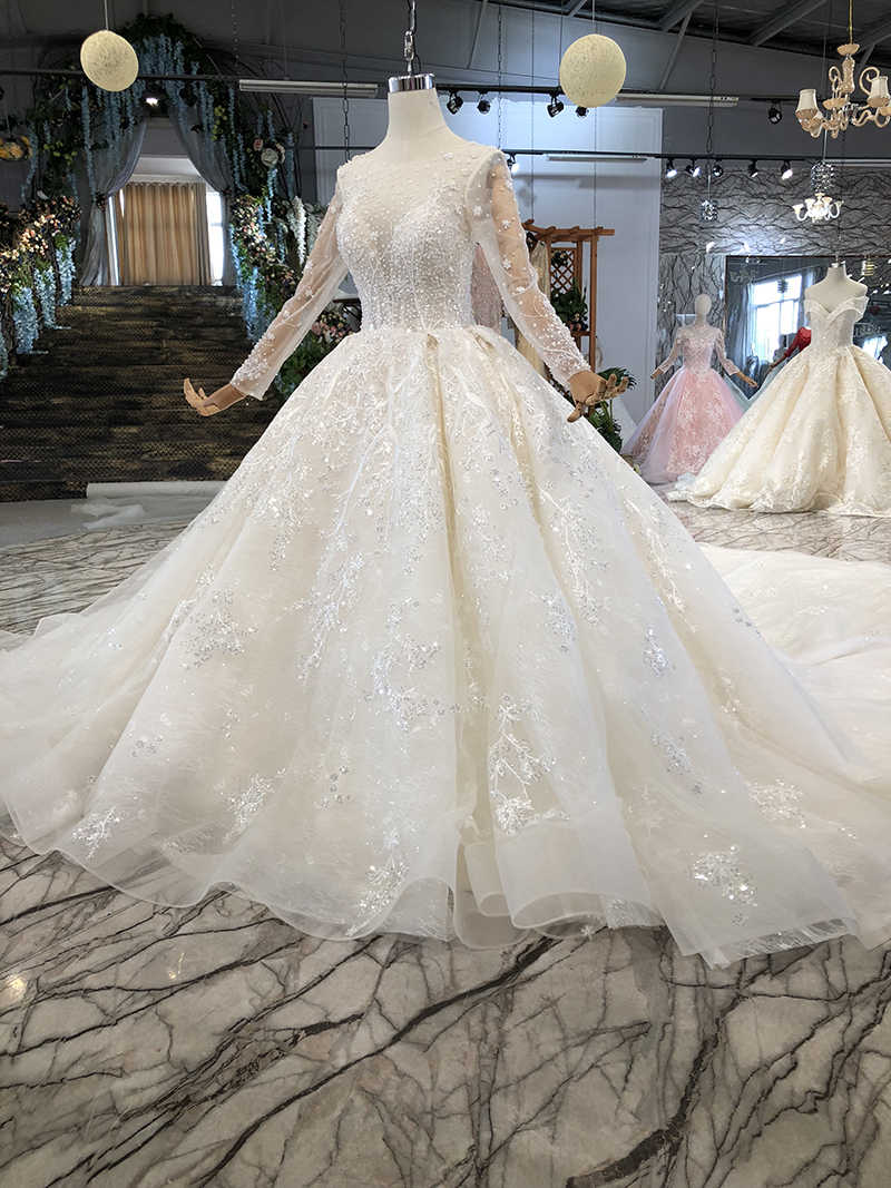 LSS156 see-through new wedding dress illusion o-neck poet long sleeves lace up back beauty wedding gown with train free shipping