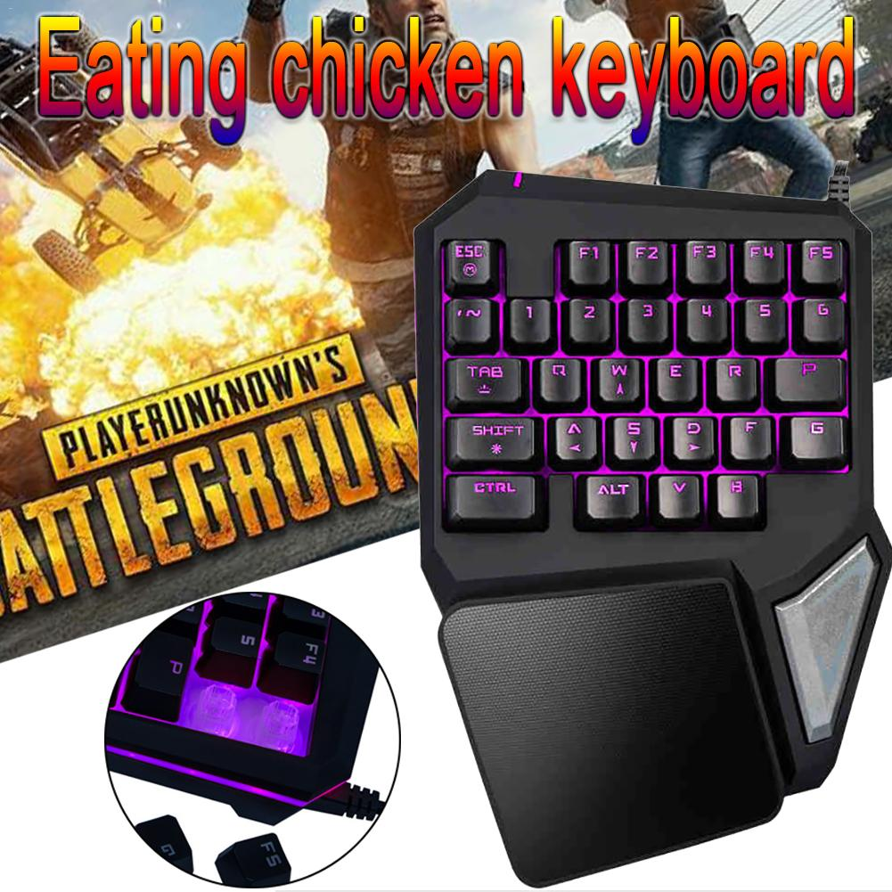 Colorful Delux T9 Pro Single Hand Magic Gun Throne Eating Chicken Artifact Mechanical Feel Backlight Keyboard