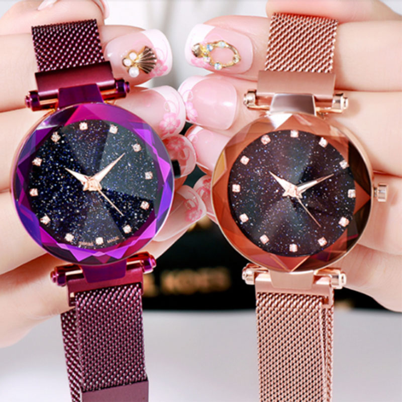 Women Stylish Quartz Wrist Watch Mesh Alloy Magnet Strap Starry Sky Dial Casual Watches LL@17 stylish zinc alloy quartz analog wrist watch bracelet for women golden multicolored 1 x 626