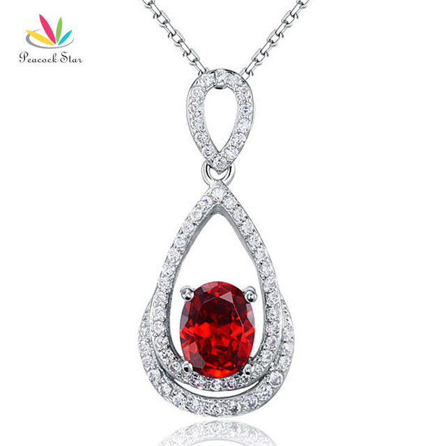 Peacock Star 2 Carat Oval Cut Red Simulated Ruby Solid 925  Sterling Silver Pendant Necklace Jewelry CFN8016