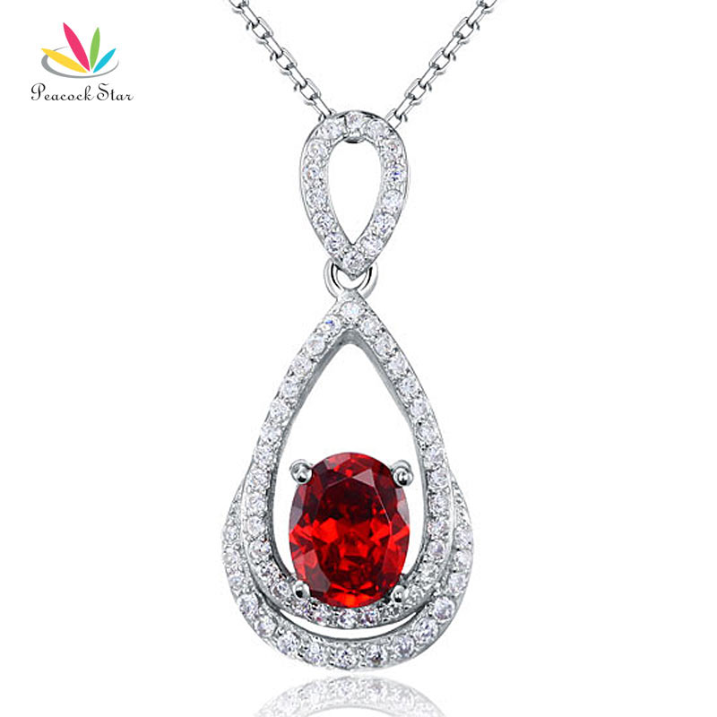Peacock Star 2 Carat Oval Cut Red Solid 925 Sterling