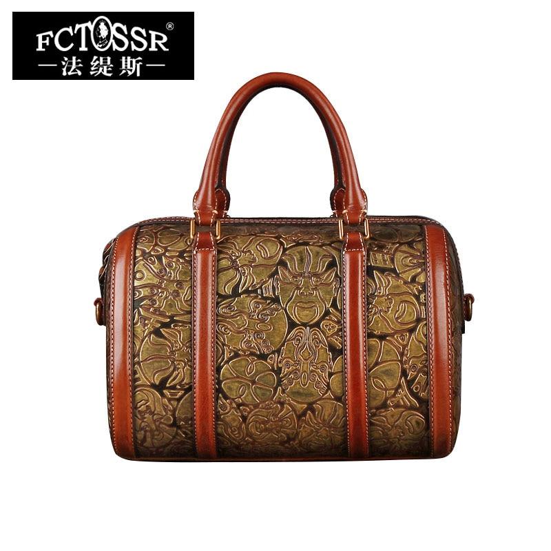 Women's Handbag 2018 Handmade Genuine Leather Bags Top Handle Lady Messenger Bag Facebook Pattern Women Shoulder Bag handmade rattan weaving craft top handle genuine leather bags women