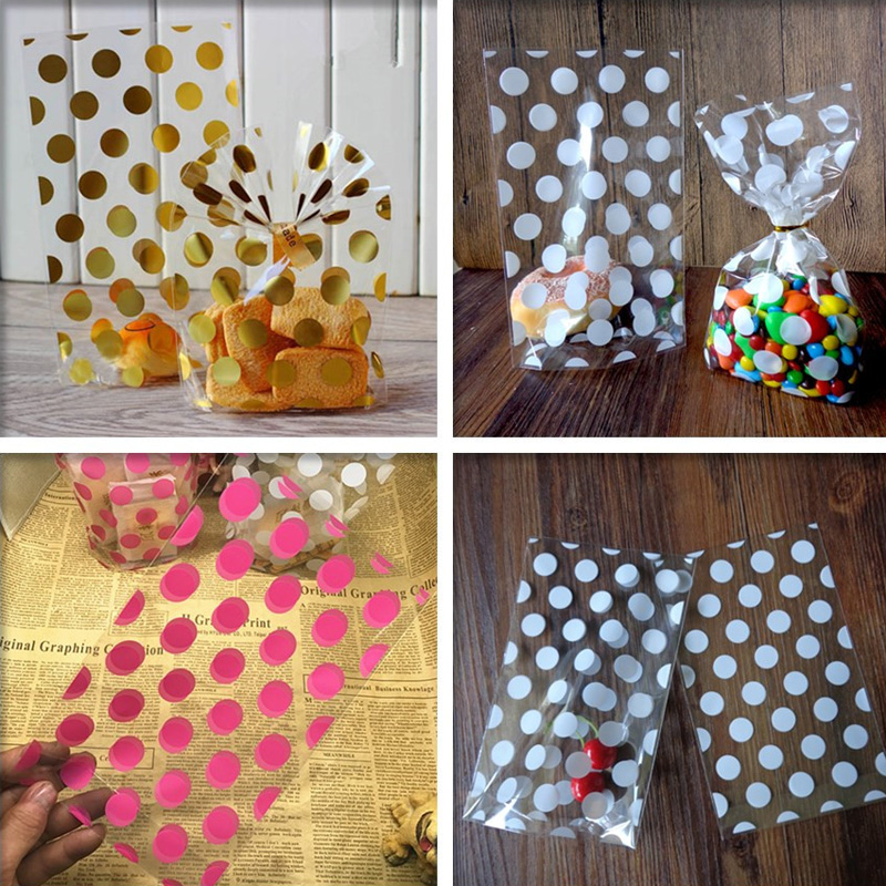 100pcs Gold Pink White Polka Dots Transparent Cookies Bags - Cellophane Bag - Candy Bags