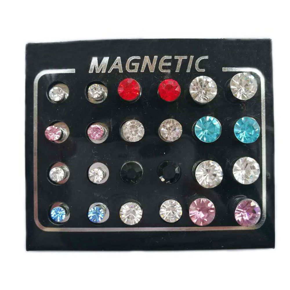 Casual Mix Size Magnet Ear Studs 4/5/6mm Colorful CZ Zircon Fake Stud Earring No-pierced Magnetic Earrings for Women Men 12pairs