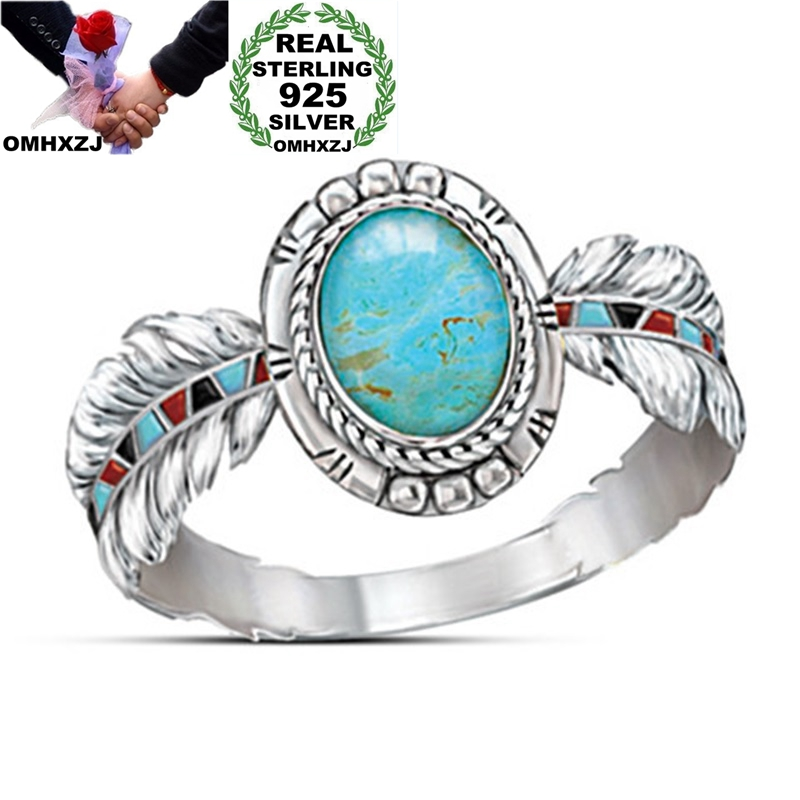 OMHXZJ Wholesale European Fashion Woman Girl Party Birthday Wedding Gift Feather Oval Turquoise 925 Sterling Silver Ring RR1020