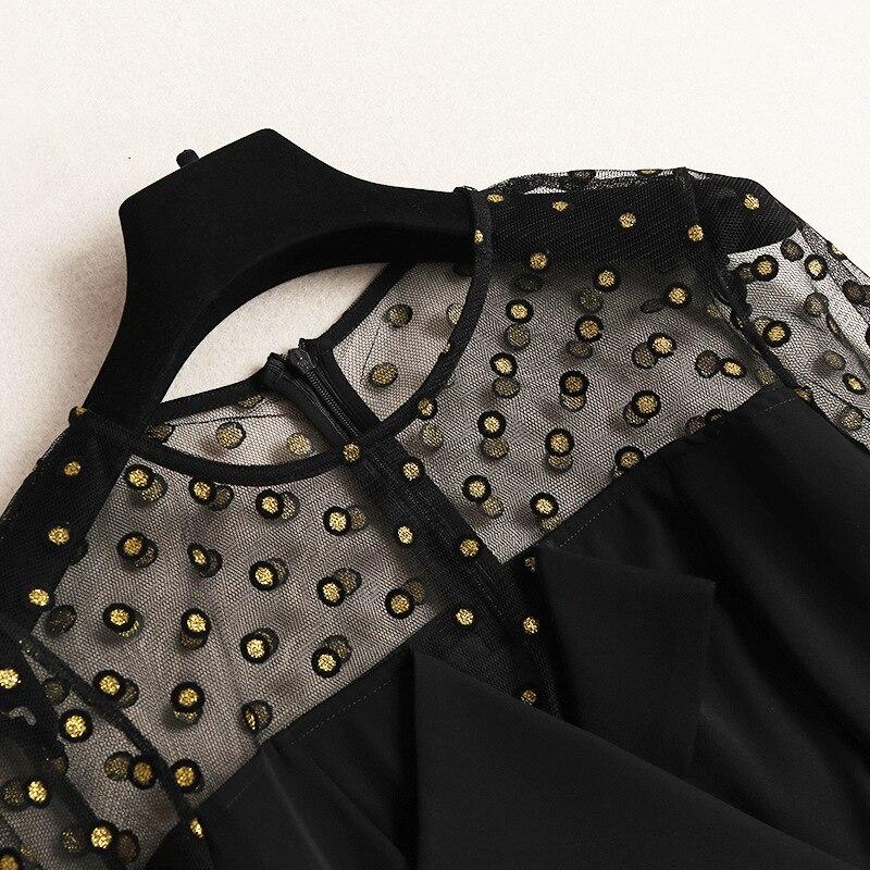 mollet Noir Transparent Sexy Printemps Mode Mi Tulle Longues Robe À Haut Soirée 2019 Bas Manches Broderie Nouvelles De Robes Femmes Dot vxawqqERO
