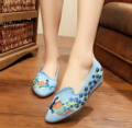 New embroidery Shoes elegant woman pointed toe chinese old Beijing canvas peacock embroidered single dance shoes size 34-41