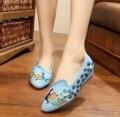 Novos Sapatos bordados elegante dedo apontado mulher chinesa velha Pequim sapatos de lona do pavão bordado único sapatos de dança tamanho 34-41