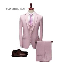 2019 Fashion New High quality Mens Pink suits Formal 3 Pieces Wedding Groom Tuxedos Prom Slim Fit Notched lapel Suits