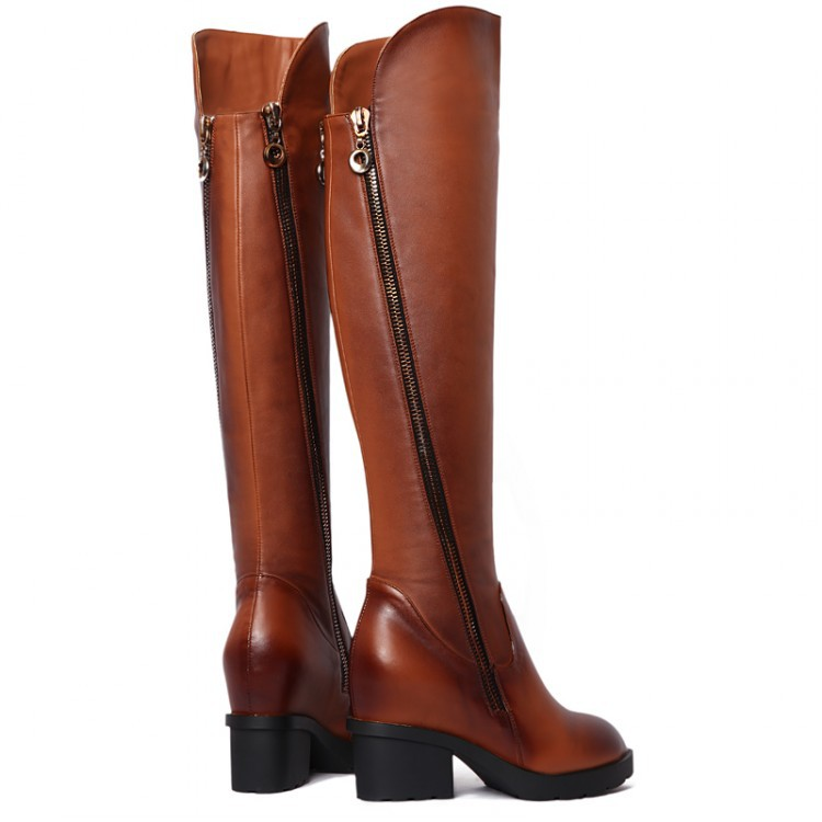 free shipping knee natrual real genuine leather