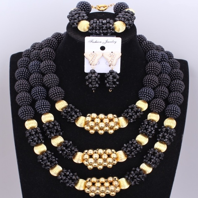 Latest Black Nigerian Beads Bridal Jewelry Sets Gold Big Ball Bold Crystal Statement Necklace Set For Women Christmas Gift  2017