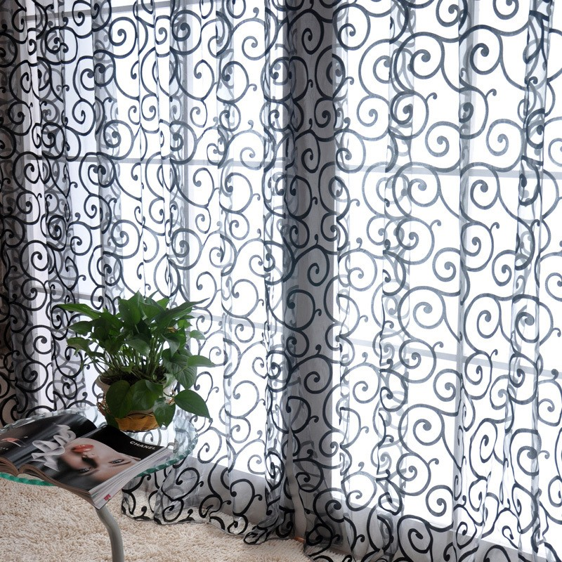 Yarn Drap flocking screens brown curtain for living room bedroom transparent curtains tulle chiffon blinds cortinas
