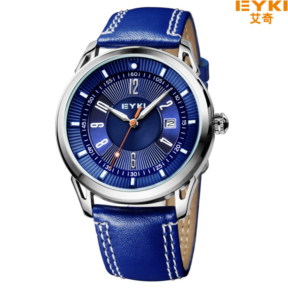 Eyki Brand Genuine Leather Strap Men Watches Casual Fashion Waterproof Quartz Watch Sports Calendar Watch Relogio Masculino магнит декоративный попугай 2 10189