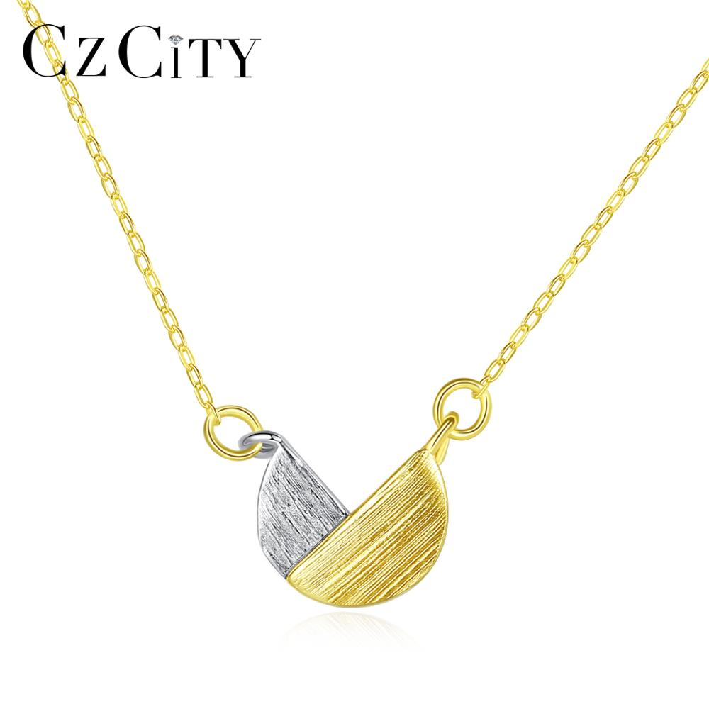 CZCITY 925 Sterling Silver Minimalist Geometric Pendant Necklaces For Women White Gold Color&Gold Color Brushed Jewelry SN0340