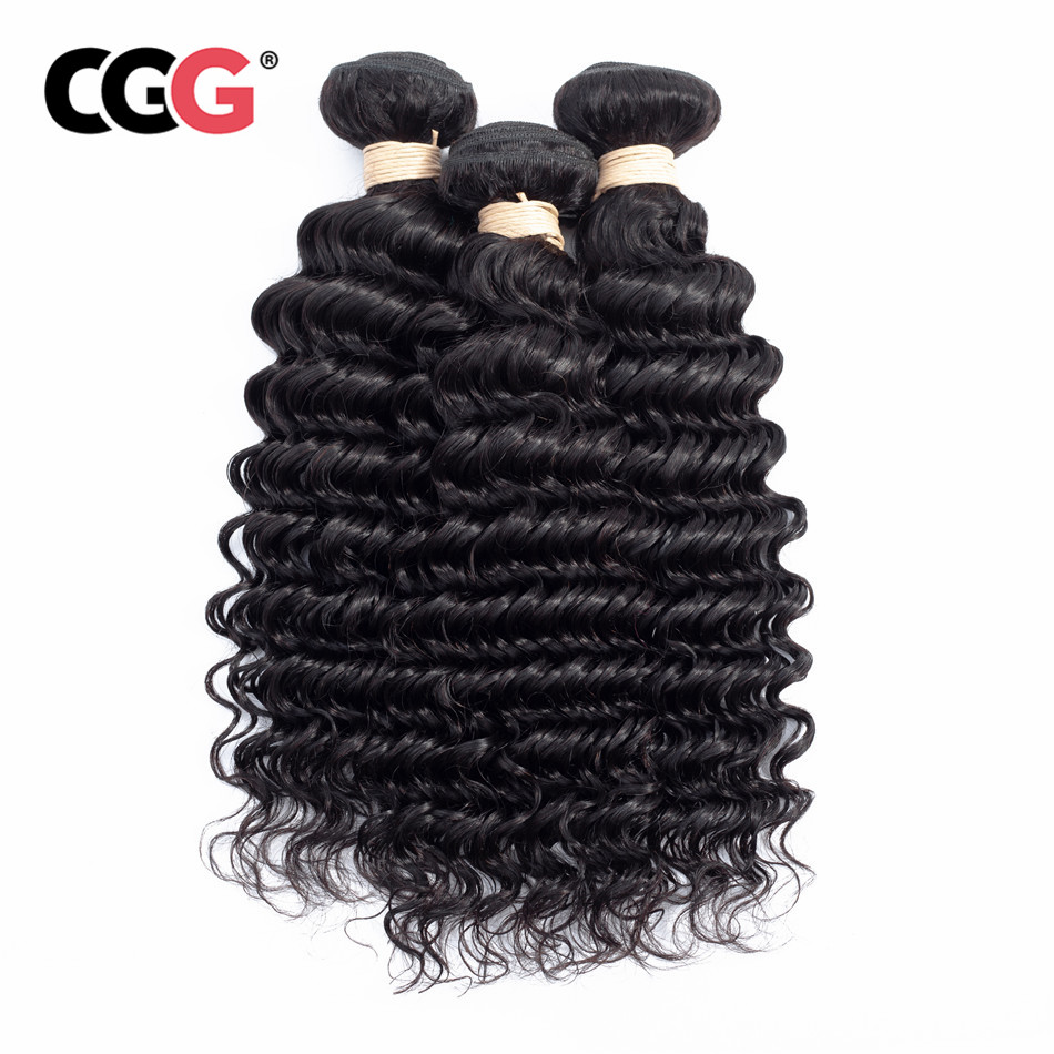 CGG Hair-Extensions Cgg-Hair 3pcs Bundles Weaves No-Smell Deep-Wave Natural-Color 100%Human-Hair