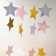 Pink White Gold Color Sparkles Star Paper Garland, Paper Banner, Bridal Shower,Gender Reveal Baby, Birthday Party