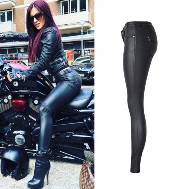 Sexy PU Leather Coated Denim Pants Women Jeans Low waist Skinny Pencil Pants  Female Black Stretchy Trousers f149191094