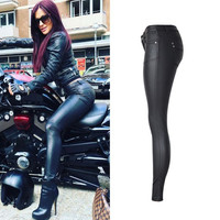 Sexy PU Leather Coated Denim Pants Women Jeans Low waist Skinny Pencil Pants Female Black Stretchy Trousers