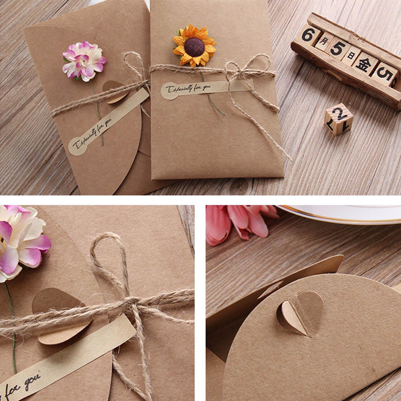 Behogar 10pcs Diy Kraft Paper Thank You Cards Greeting Gift Card