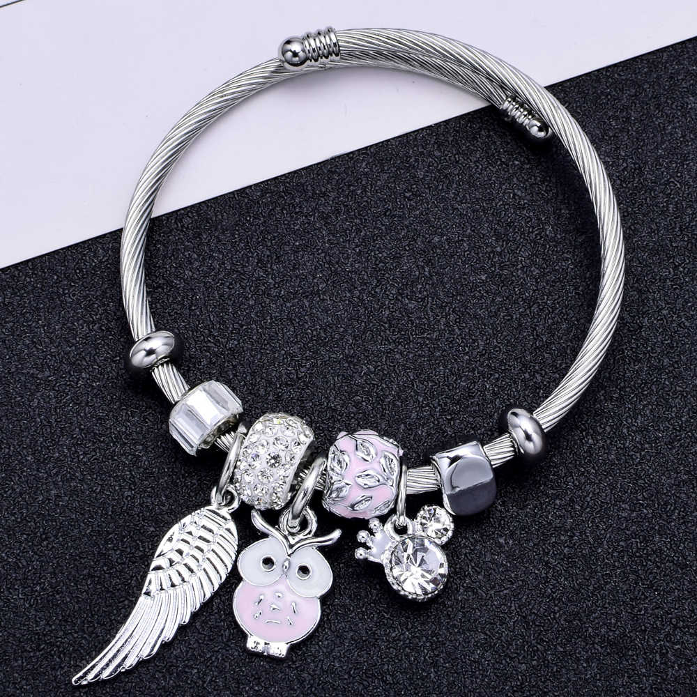 Fashion Wing Owl Charms Stainless Steel Bracelets Bangles Crystal Disco Ball Pendant Adjustable Bracelet Jewelry for Women