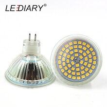 LEDIARY 2PCS Glass Housing 60LED GU5.3 MR16 LED Spotlight JCDR 220-240V Cup-shape Corn Light Bulb LED Energy Saving Lamp 2835