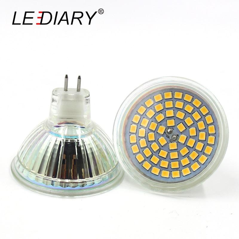 LEDIARY Glass Housing 60LED GU5.3 MR16 LED Spotlight JCDR 220-240V Cup-shape Corn Light Bulb LED Energy Saving Lamp 2835