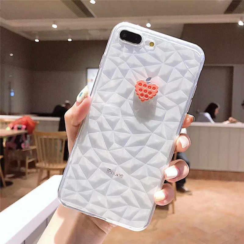 3D Bling Diamond Crystal strass Glitter dibujos animados amor corazón piña estrella funda para iPhone 6 6 S 7 8 Plus XS MAX XR cubierta Caqa