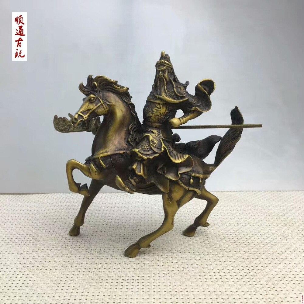 Sculpture en Bronze de chine ancienne décoration monter une Statue de cheval Guan Gong