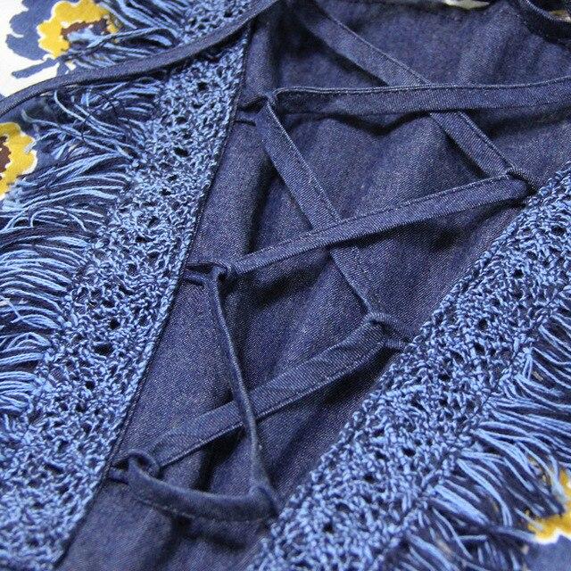 LARCI Vintage Patchwork Summer Dress Women Flare Sleeve Floral Tassel Boho Cotton Casual Dresses Vestidos PA82092