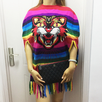 Women's fall new style round collar with a colorful striped animal pattern fringe and a sleeveless shawl knitted sweater