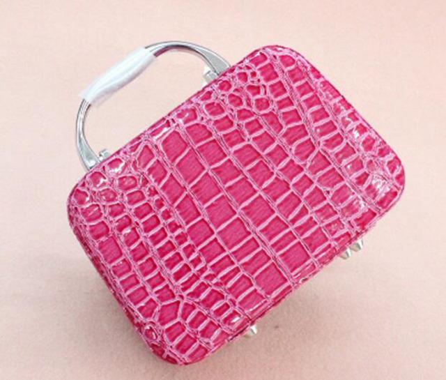 ZKT010 mujeres Cosméticos Casos 19.5*6.5*13 cm patrón de piedra kit de cosméticos casos de gran capacidad cosmética profesional kit de maquillaje