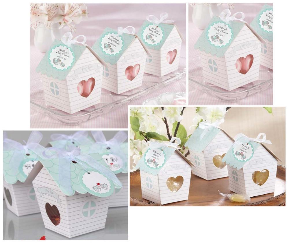 Hot Sale 50pcslot Love Nest Green Bird House Wedding Favour Box