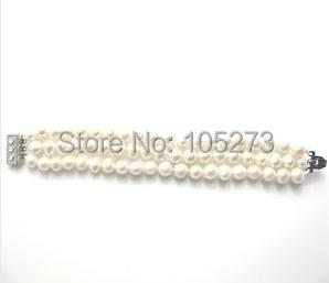 Удивительно! жемчужный браслет А. А. 6-7 мм 3 ряда Белый Цвет натуральной пресноводный жемчуг браслет женщина ювелирные изделия Горячая nb78