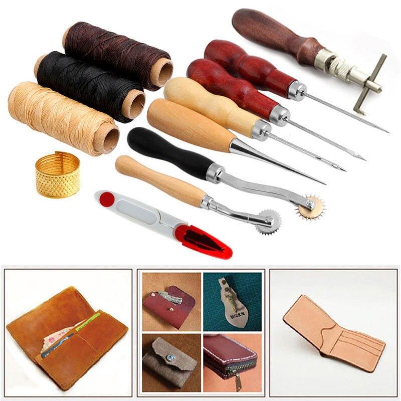 High Quality 13Pcs Leather Craft Hand Stitching Sewing Tool Thread Awl Waxed Thimble Ki