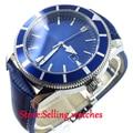 Автоматические Мужские наручные часы Bliger 46 мм с синим циферблатом и подсветкой
