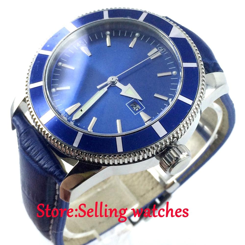 46mm Bliger blue dial date luminous marks sub automatic mens wrist watch цена и фото