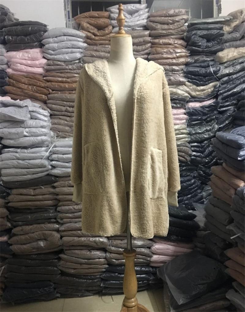 S-5XL Faux Fur Teddy Bear Coat Jacket Women Fashion Open Stitch Winter Hooded Coat Female Long Sleeve Fuzzy Jacket 2018 Hot New