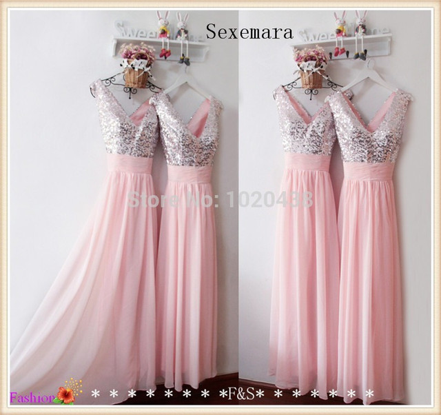 Real Sample cheap Shiny Sequined vestido de noiva Long Pink Chiffon Formal  prom Party Gowns 2018 New Arrival Bridesmaid Dresses 5a561c544a47