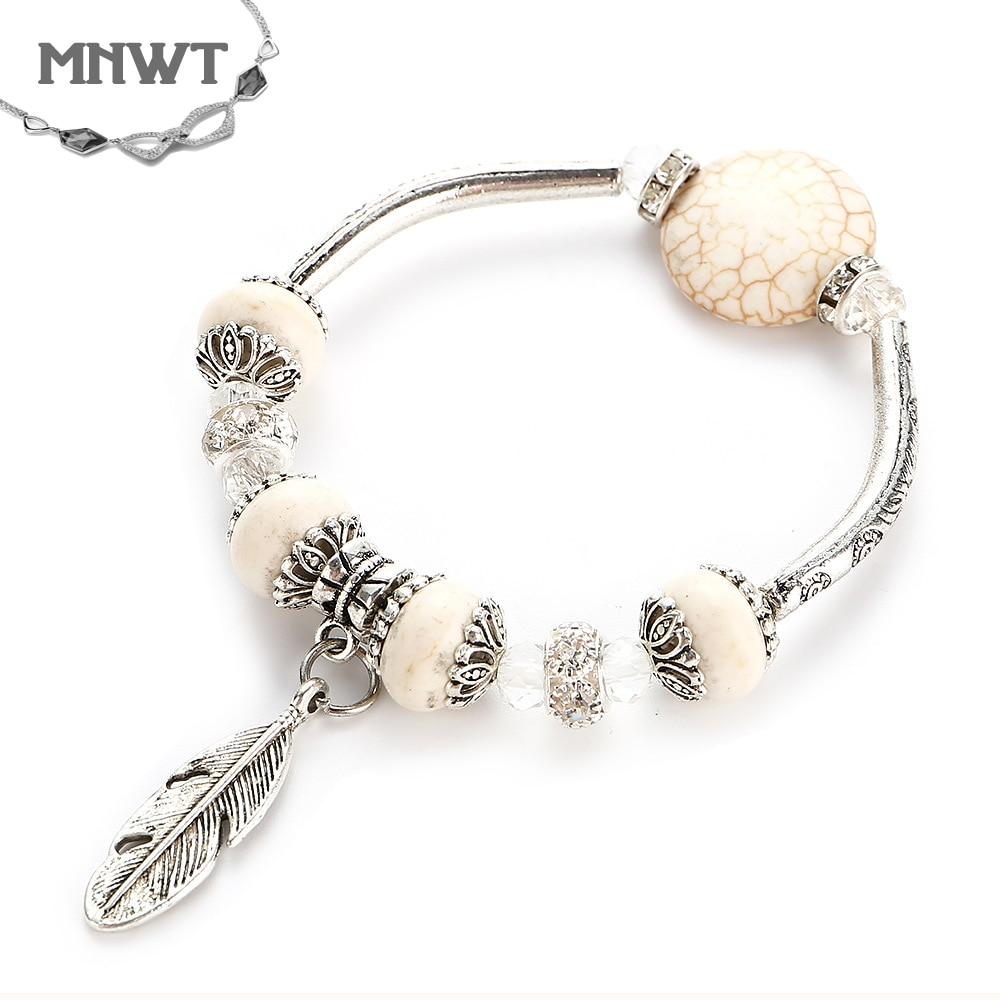 MNWT Vintage Natural Stone Turquoises Beads Bracelet Leaf Charm Bracelets Bangle For Women Pulseras Mujer Fashion Jewelry